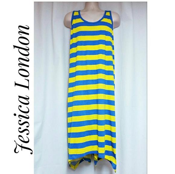 Jessica London Dresses & Skirts - Jessica London Striped Tank Dress Blue Yellow
